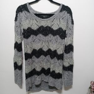 Maurices Open Stich Black and Gray Sweater